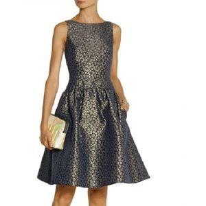 J. Crew Factory Gold Floral Jacquard Dress
